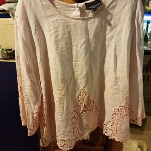 Cynthia Rowely Pink Lace Top